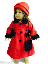 """Red Wool Coat, Purse & Hat made for 18"""" American Girl Doll Clothes"""