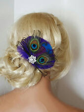 Peacock Bridal Fascinator Hair Clip purple feather accents rhinestone brooch NEW