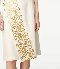 NWT $495 TORY BURCH RUNWAY New Ivory Linen Gold Embroidered Skirt - Sz 8