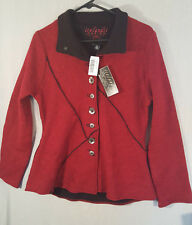 Icelandic Design EVELYN Red Boiled Wool Sweater Jacket Coat