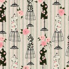 Spectrix Mademoiselle Vintage Sewing Mannequin Stripe Cotton Fabric Yardage   H3