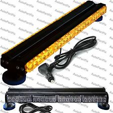 "25"" 144W LED Amber Light Magnet Warning Strobe Flashing Bar Emergency Roof"