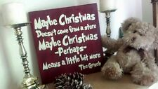 "Cute Christmas Means More GRINCH QUOTE 11-1/4""x12"" Wood Sign XMas Holiday Decor"