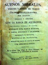 Diego de TORRES VILLARROEL : Sueños morales, 1796, in-8 relié vélin, ESPAGNE