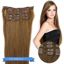 Remy Echthaar Haarverlängerung Clip in Extensions 7 Tressen Strähnen Hair Wig