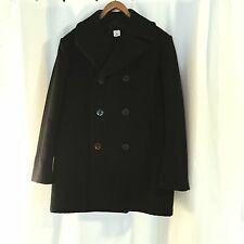 HEAVY Black Anchor Button Wool US NAVY DOUBLE BREASTED PEA COAT Jacket 42 Long