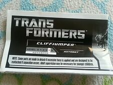 Transformers GENERATIONS CLIFFJUMPER INSTRUCTION BOOKLET AUTHENTIC