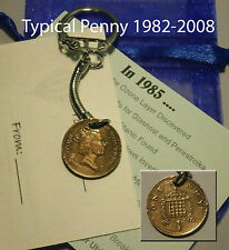 1988 Coin penny keyring 28th birthday gift set bag & tag 28 years old dd