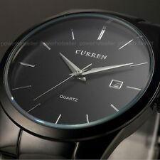 CURREN Mens Black Stainless Steel Watches Date Quartz Analog Sport Wrist Watch