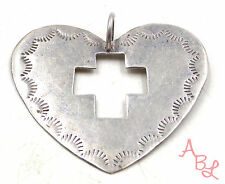 Sterling Silver Vintage 925 Large Navajo Heart Open Cross Pendant (4.5g) 545966