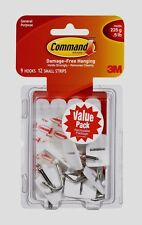 New!! 3M Command Value Pack 9 Small Wire Hooks 12 Small Adhesive Strips 17067-VP