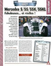 Mercedes S/SS/SSK/SSKL 1927 GERMANY DEUTSCHLAND ALLEMAGNE  Car Auto FICHE FRANCE