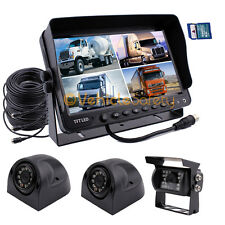 "9"" QUAD MONITOR WITH DVR BACKUP CAMERAS SAFETY SYSTEM FOR TRUCK TRAILER RV"