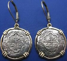14K SOLID GOLD PIRATE COIN EARRINGS ATOCHA COIN REPLICA 1 REALE LEVER BACKS