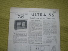 Trader Service Sheet No.749 Ultra 55 (Serial Nos. Up To Y3000 Only) 1945