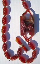 Antique CHINESE CARVED AGATE CARNELIAN PENDANT NECKLACE PRAYER BEADS
