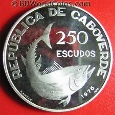 1976 CAPE VERDE 250 ESCUDOS SILVER PROOF FISH INDEPENDENCE ANNIVERSARY RARE!