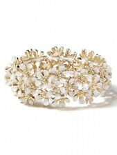 J.Crew White Enamel Layered Gold Flower Stretch Bracelet NIP $49
