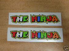 "Valentino Rossi style text - ""THE NINJA""  x2 stickers / decals  - 5in x 1in"