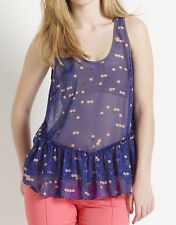 NEW Monsoon Fusion S 8-10 BEE MINE BLUE PEPLUM CAMISOLE VEST TOP £32, 3dayOFFER