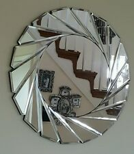 All Glass Large Bevelled Silver Clear Wall 3D Mirror Sunburst Round Bathroom