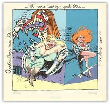 Affiche serigraphie HARDY  CHIC BULL Lolo et sucette gratouille 18ex signé 21,5x