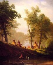 Oil painting Albert Bierstadt - The Wolf River Kansas with horsemen Tent canvas