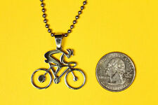 Bike Rider Pendant Stainless Steel Charm Bicycle necklace FREE beaded chain