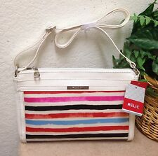 Relic by Fossil Red Striped Faux Leather Shoulder Handbag Crossbody Bag NWT