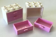 *NEW* 2 Sets Lego WHITE Container CUPBOARD 2x3x2 w BRIGHT PINK DRAWERS 4532 4536