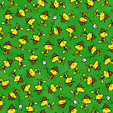 Snoopy Peanut Woodstock camp Marshmallow Green 100% cotton fabric by the yard