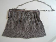 FAB Ladies Art Deco Vintage White Metal Chain Mail Handbag+Internal Coin Purse