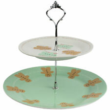 2 Tier Gingerbread Man Cake Stand Porcelain Cupcake Vintage Style Wedding Plate