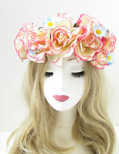 Large Cream Pink Blue Rose Daisy Flower Hair Crown Garland Festival Headband 36
