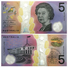 Australia 5 Dollars, 2016, P-New, UNC New Design Blind Feature Clear Polymer