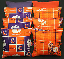 CLEMSON University Tigers CORNHOLE BEAN BAGS 8 ACA Regulation Tailgate Bags NEW!