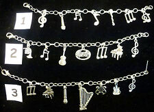 *Hand Crafted SilverPlated Chain Bracelet With Instrument Charms - Ideal Present