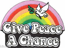 "Give Peace a Chance (Rainbow) embroidered Patch 8cm X 6cm (3"" X 2 1/4"")"