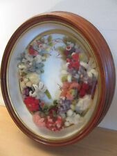 Antique 1800s Victorian Wool Flower wedding wreath in Oval shadowbox frame
