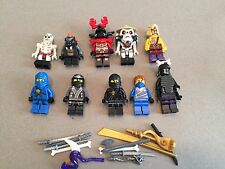 LEGO NINJAGO MINIFIG LOT of 10 MINIFIGS 4 Ninjas Weapons Lot N361