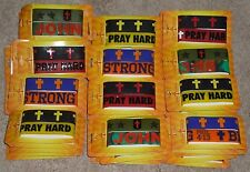 Lot of 100 CHRISTIAN Rubber Bracelets Wristbands JOHN 3:16 PRAY HARD BE STRONG