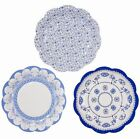 12 x Vintage Style Afternoon Tea Party paper Plates Shabby Chic Porcelain Blue