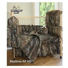 REALTREE AP CAMO CAMOUFLAGE CRIB BEDDING - 4 PC- DUST RUFFLE, COMFORTER, SHEET