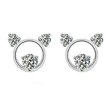 Cute 925 sterling silver and zicon crystal cutout teddy bear stud earrings