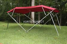 "NEW VORTEX BURGUNDY 4 BOW PONTOON/DECK BOAT BIMINI TOP 12' long 79-84"" wide"