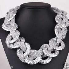 New woman Statement flower crystal chunky pendant chain charm necklace Q1149