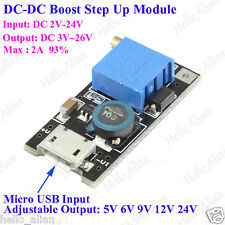 2A DC Boost Step up Adjustable Converter Micro USB 2-24V to 3V-28V 6V 9V 12V 24V