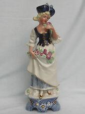 Porzellan Figur galante Frau mit Blume,echt Cobalt Wagner & Apel,Top