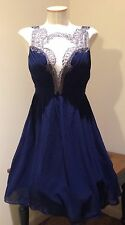 NWT LITTLE MISTRESS NAVY BAROQUE FRONT  DRESS Sz 6 ASOS PARTY COCKTAIL EVE
