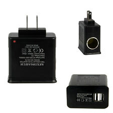 US Wall AC Adapter to DC Car Charger Cigarette Lighter Socket Converter w/ 2 USB